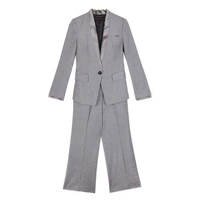 one button satin collar jacket & slacks gray